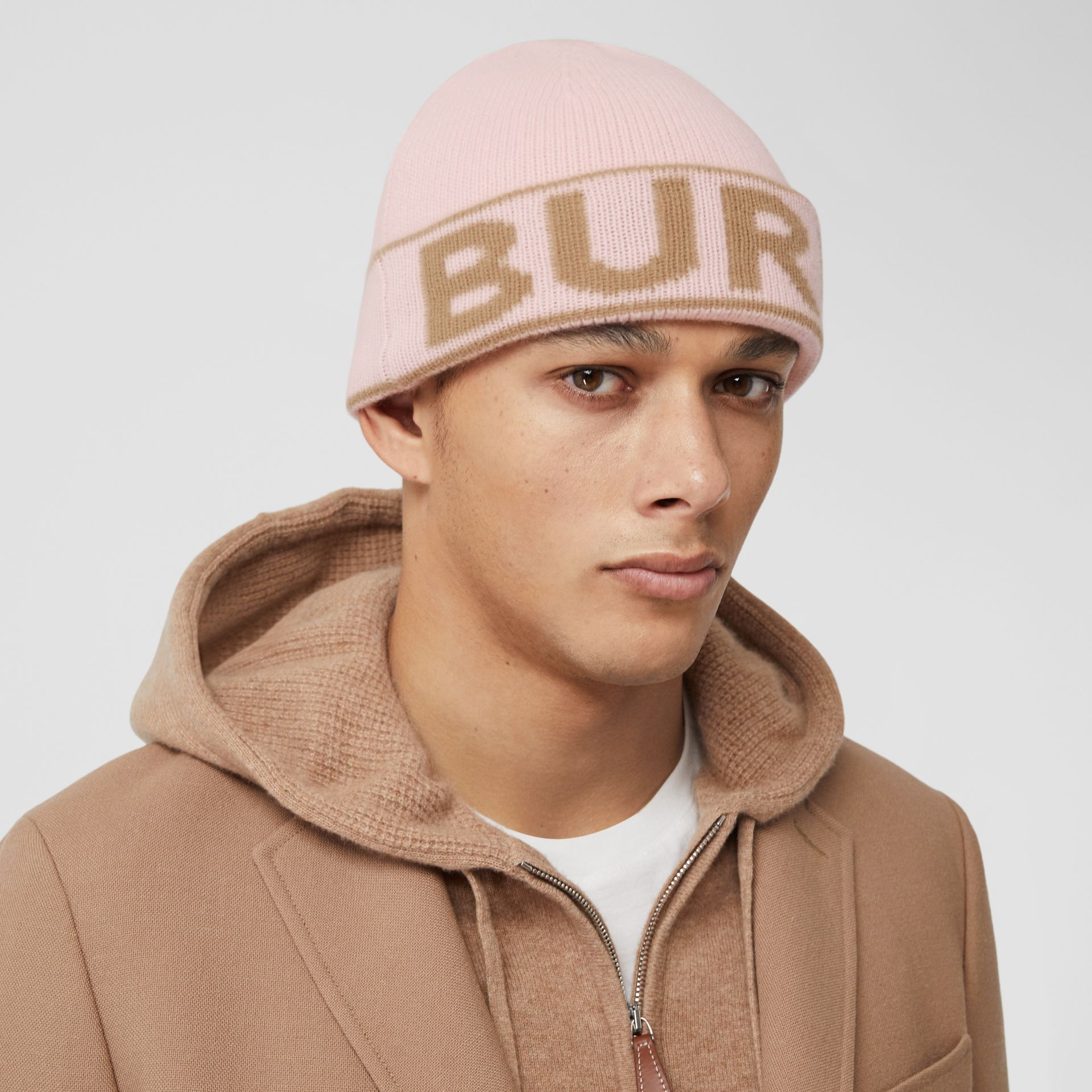 Logo Intarsia Cashmere Beanie in Candy Pink | Burberry - gallery image 3