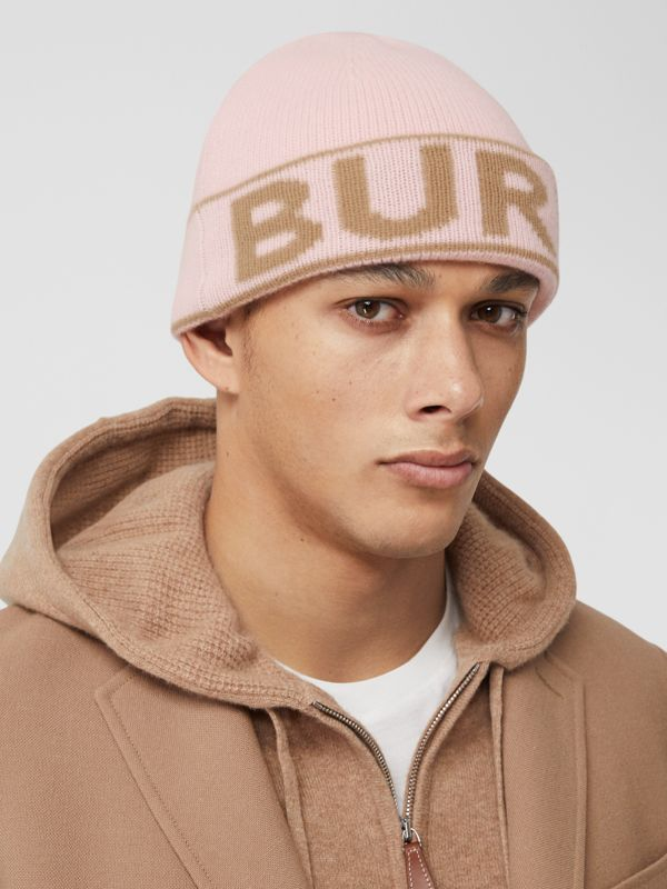 Logo Intarsia Cashmere Beanie in Candy Pink | Burberry - cell image 3