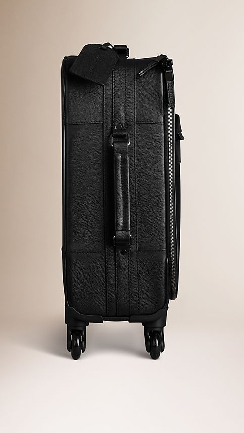 Black London Leather Four-Wheel Suitcase - Image 4