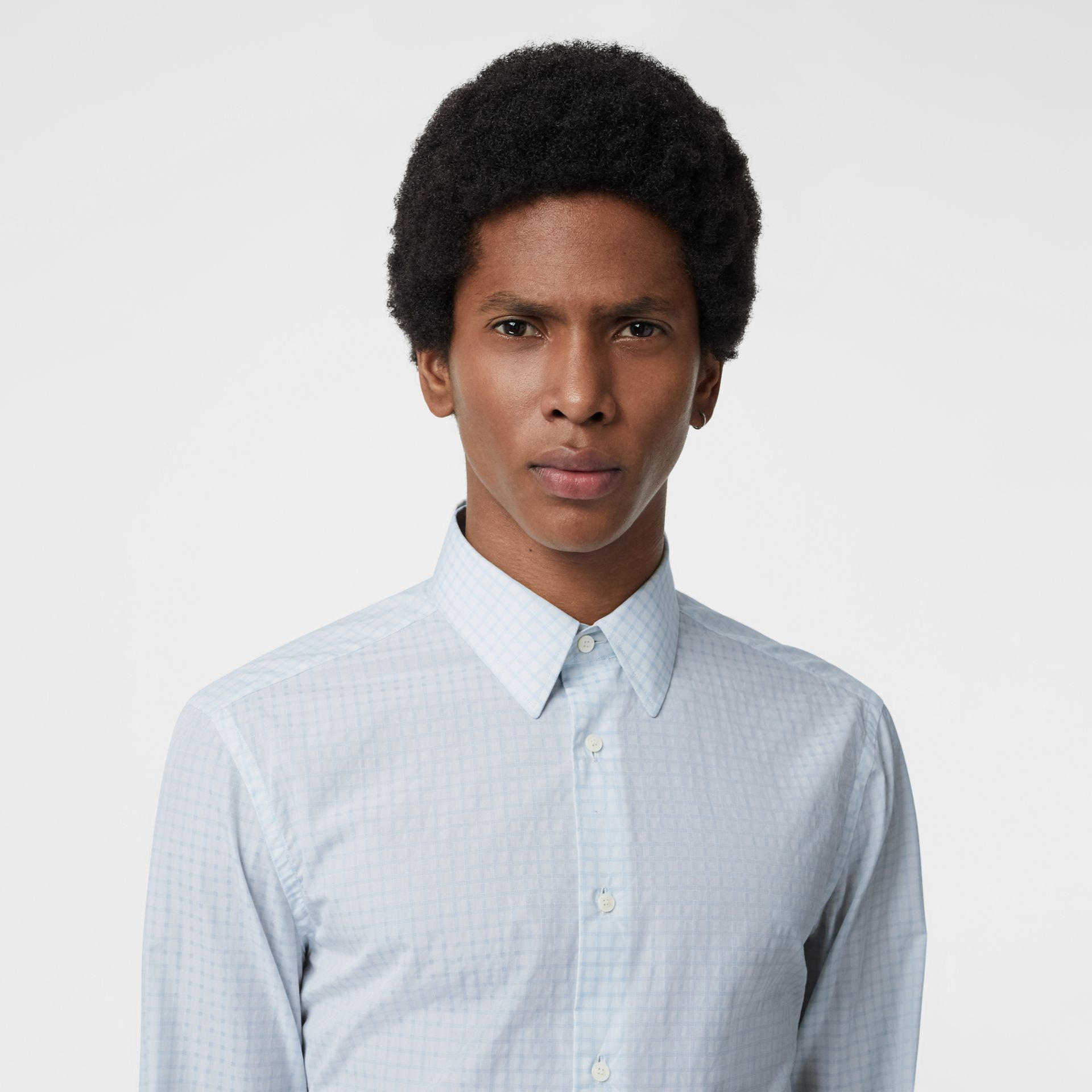 Slim Fit Check Cotton Poplin Shirt in City Blue - Men | Burberry - gallery image 1