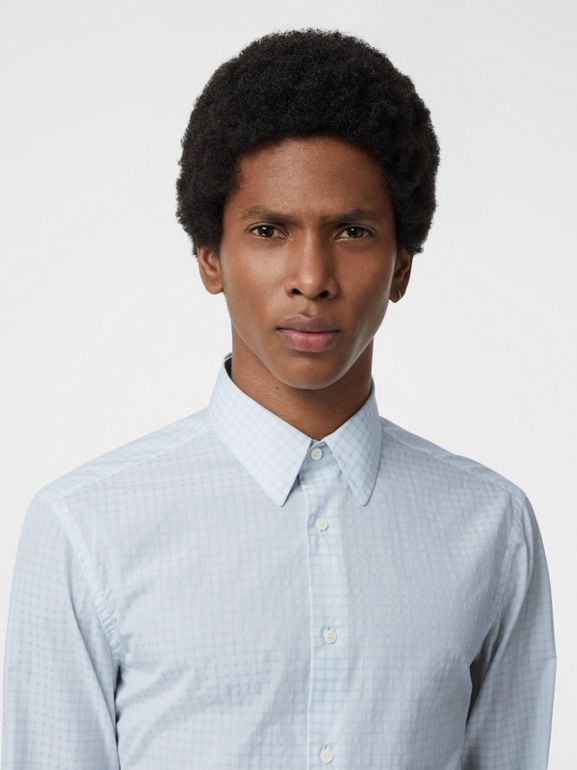 Slim Fit Check Cotton Poplin Shirt in City Blue - Men | Burberry Canada - cell image 1
