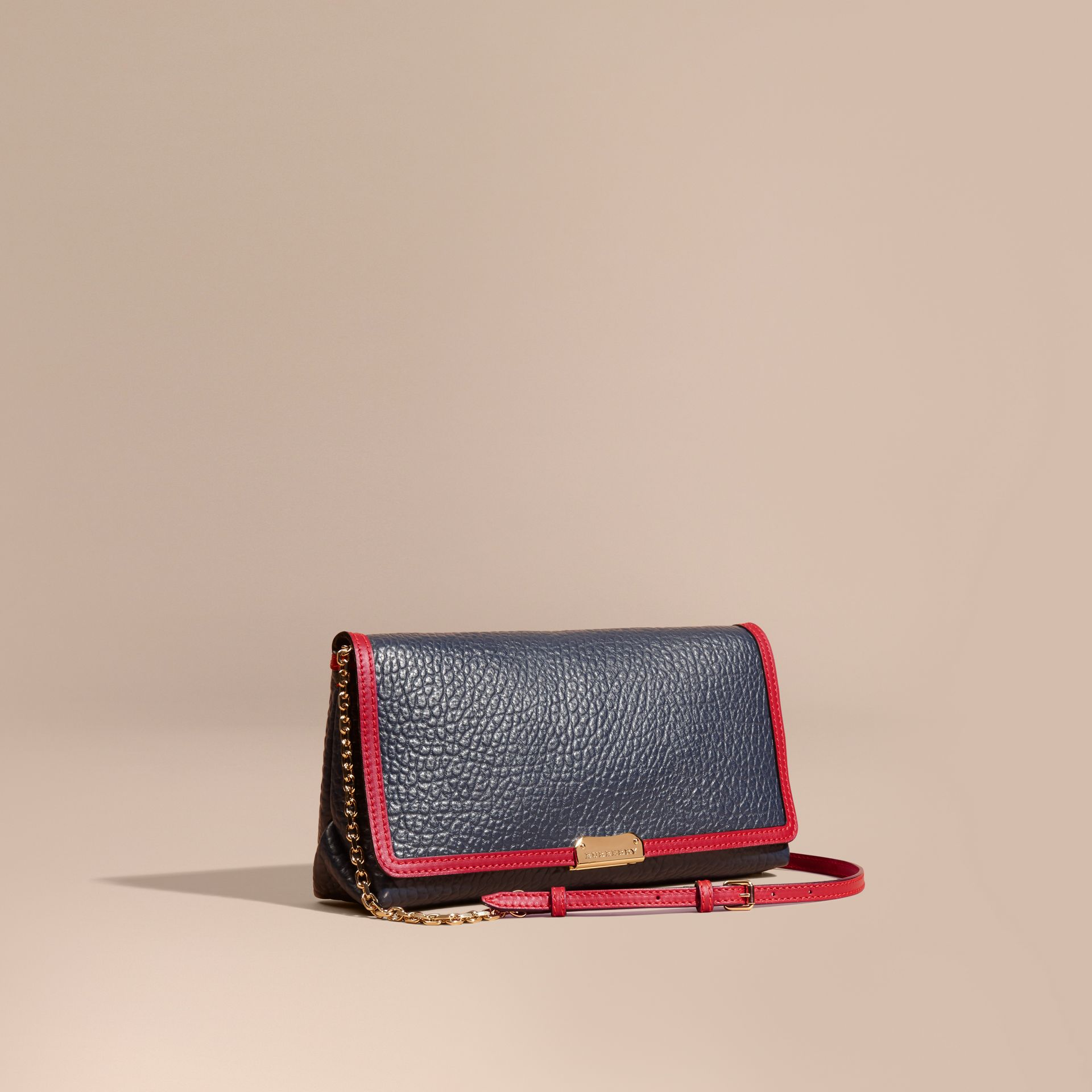 Blue carbon/parade red Medium Contrast Border Signature Grain Leather Clutch Bag - gallery image 1