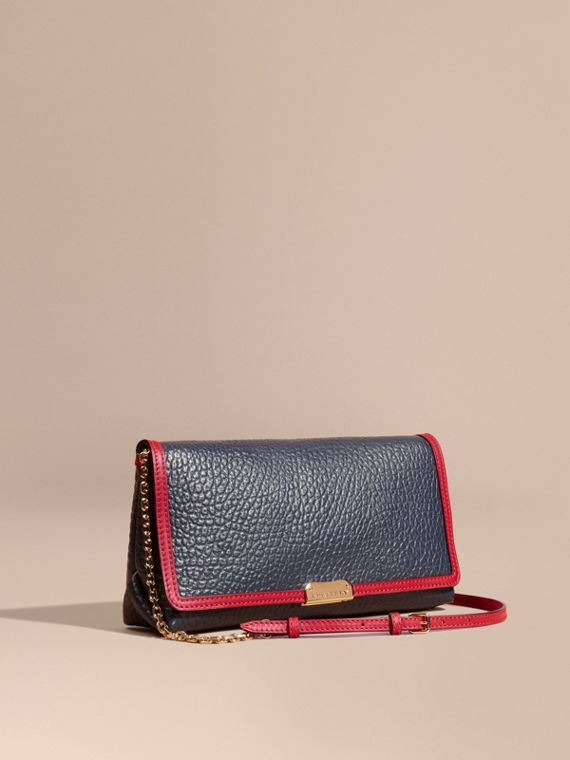 Medium Contrast Border Signature Grain Leather Clutch Bag