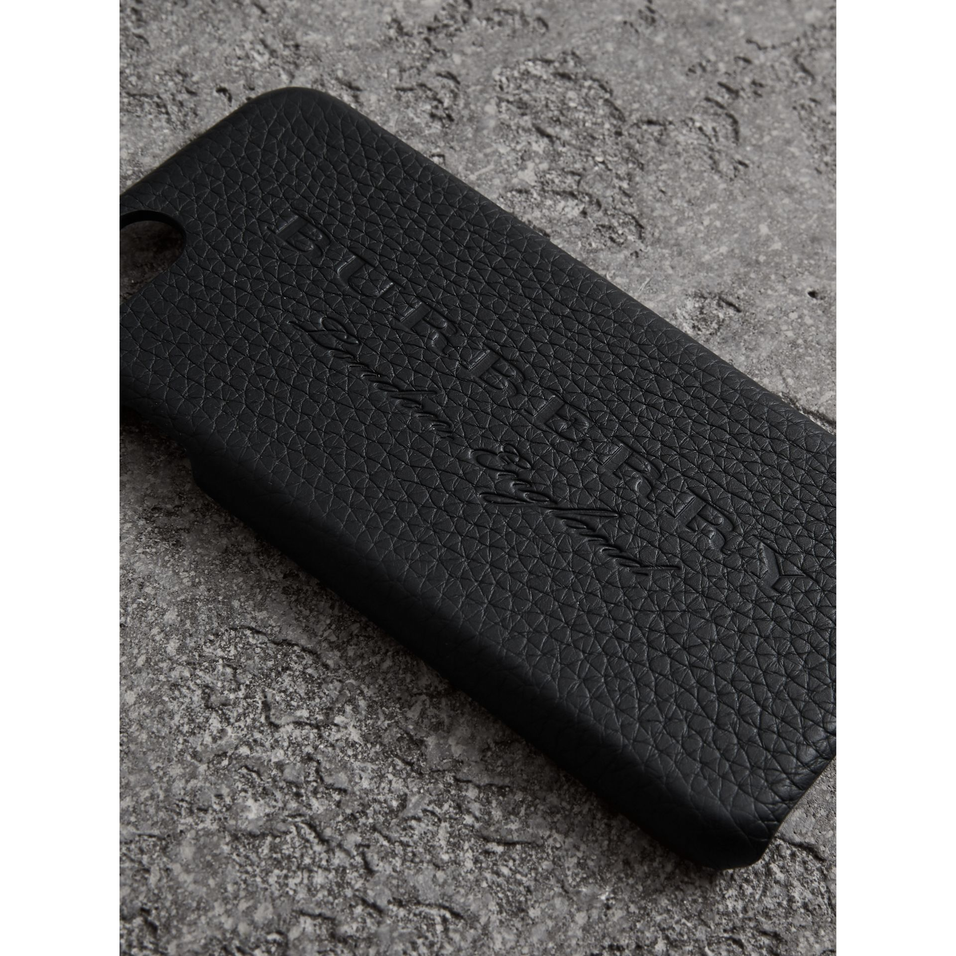 Embossed Logo Leather iPhone 8 Case in Black | Burberry - gallery image 1