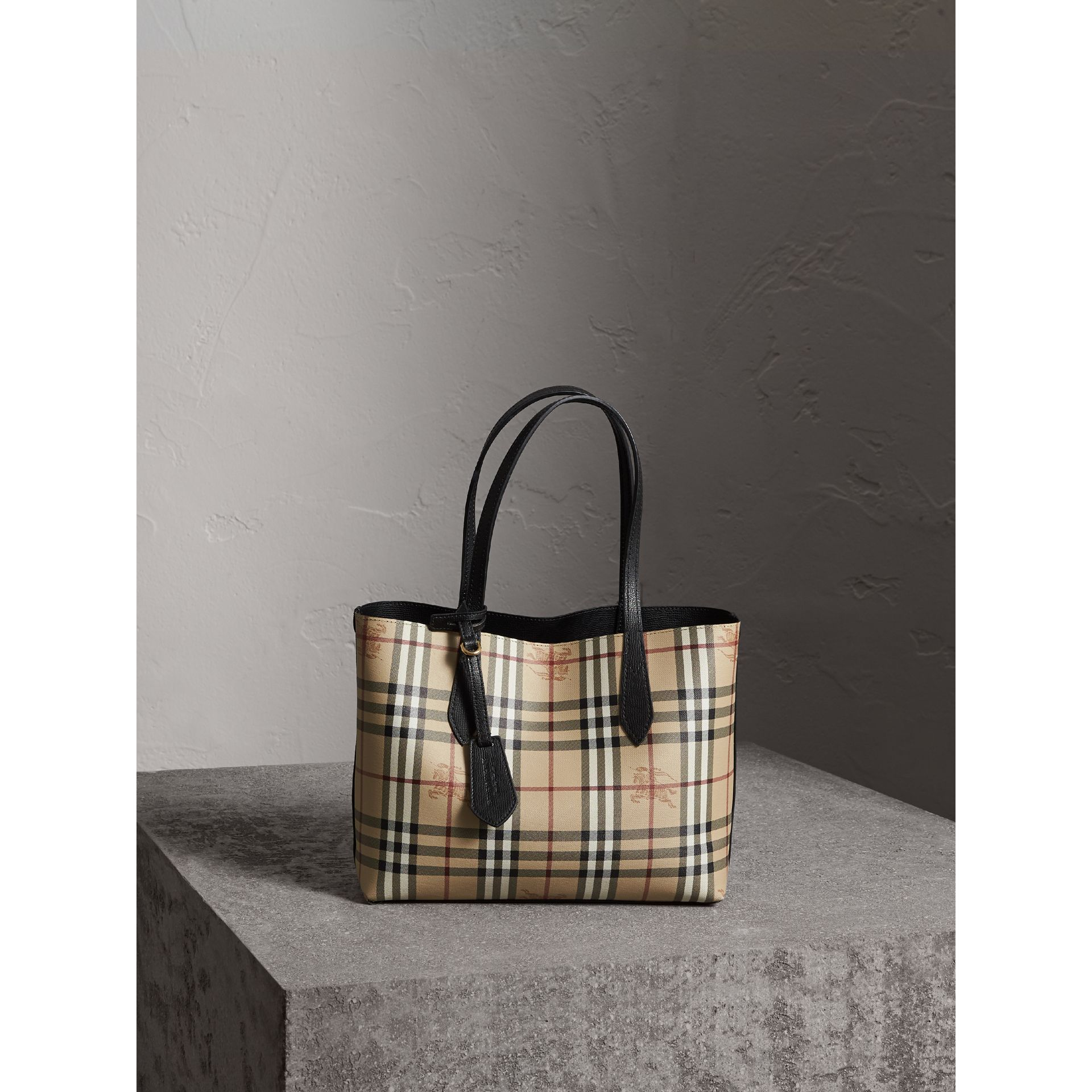 The Small Reversible Tote in Haymarket Check and Leather in Black - Women | Burberry - gallery image 6