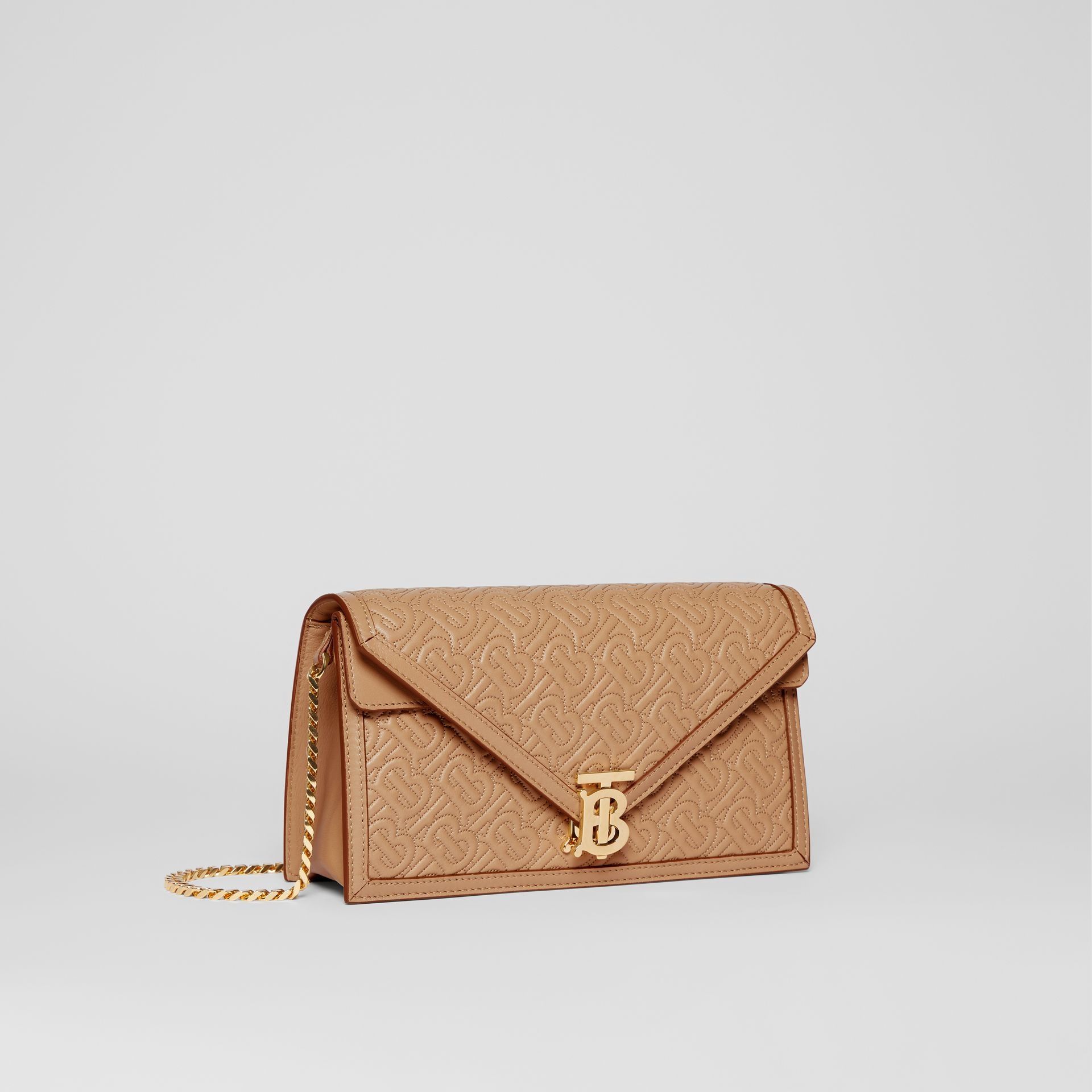 Small Quilted Monogram TB Envelope Clutch in Honey - Women | Burberry - gallery image 4