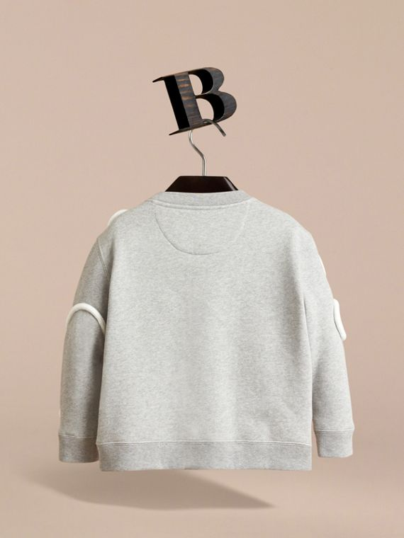 Rope Detail Brushed-back Jersey Sweatshirt in Grey Melange - Boy | Burberry Singapore - cell image 3