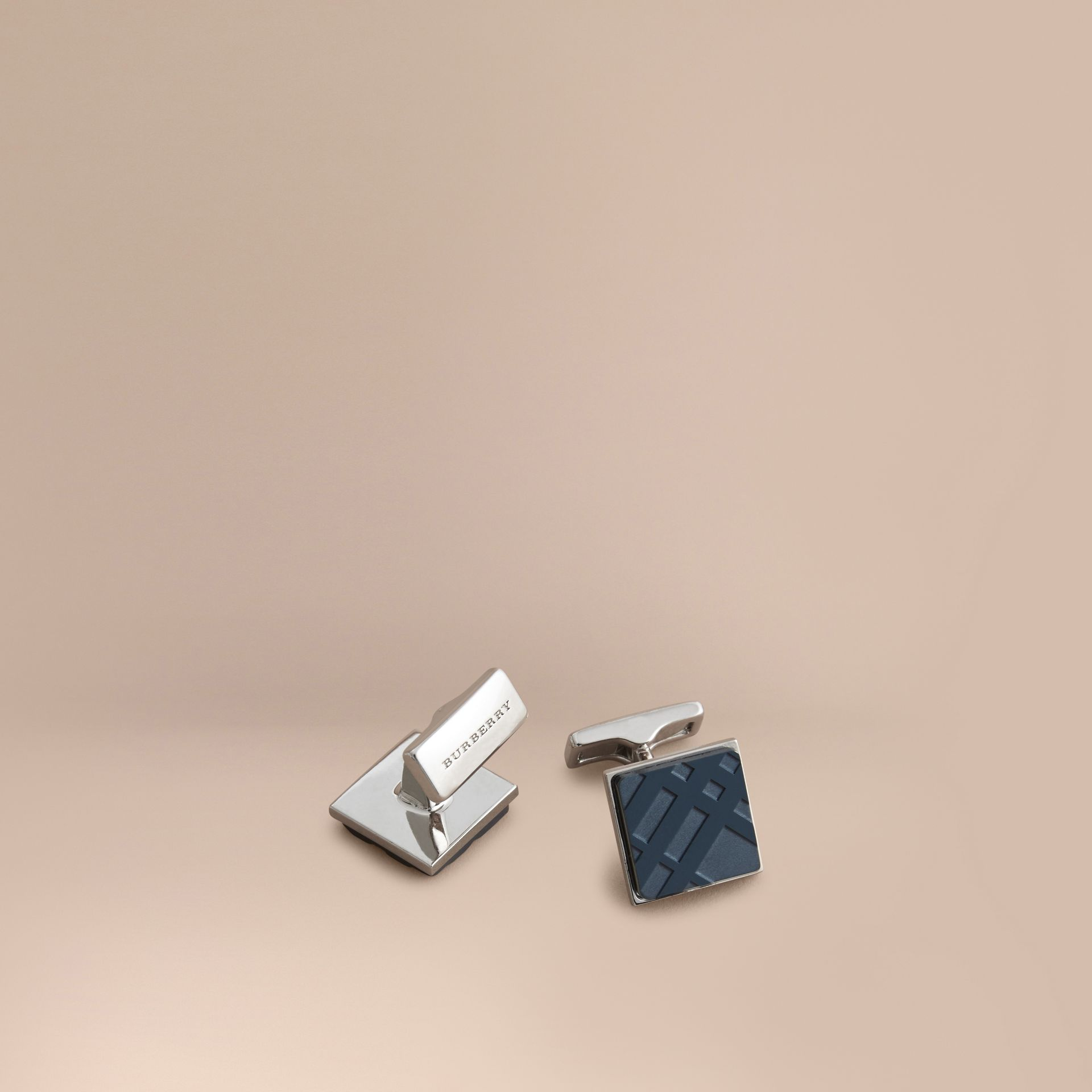 Check-engraved Square Cufflinks in Dark Navy - Men | Burberry - gallery image 1