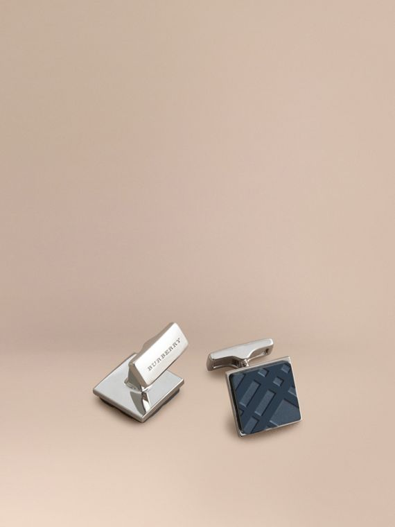 Check-engraved Square Cufflinks in Dark Navy - Men | Burberry Singapore