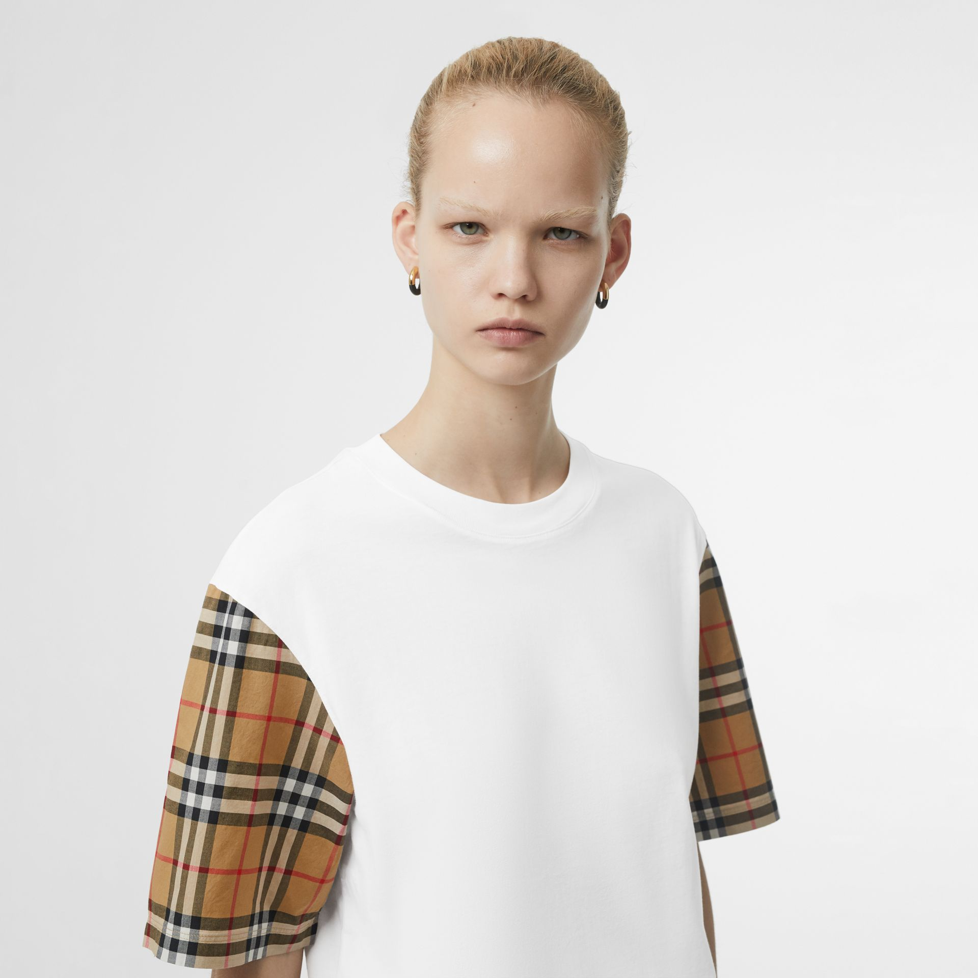 Vintage Check Sleeve Cotton T-shirt in White - Women | Burberry Singapore - gallery image 1
