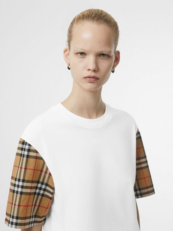 Vintage Check Sleeve Cotton T-shirt in White - Women | Burberry - cell image 1
