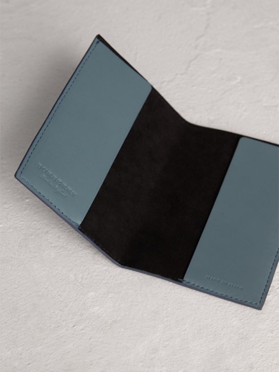 Embossed Leather Passport Holder in Dusty Teal Blue | Burberry - cell image 3
