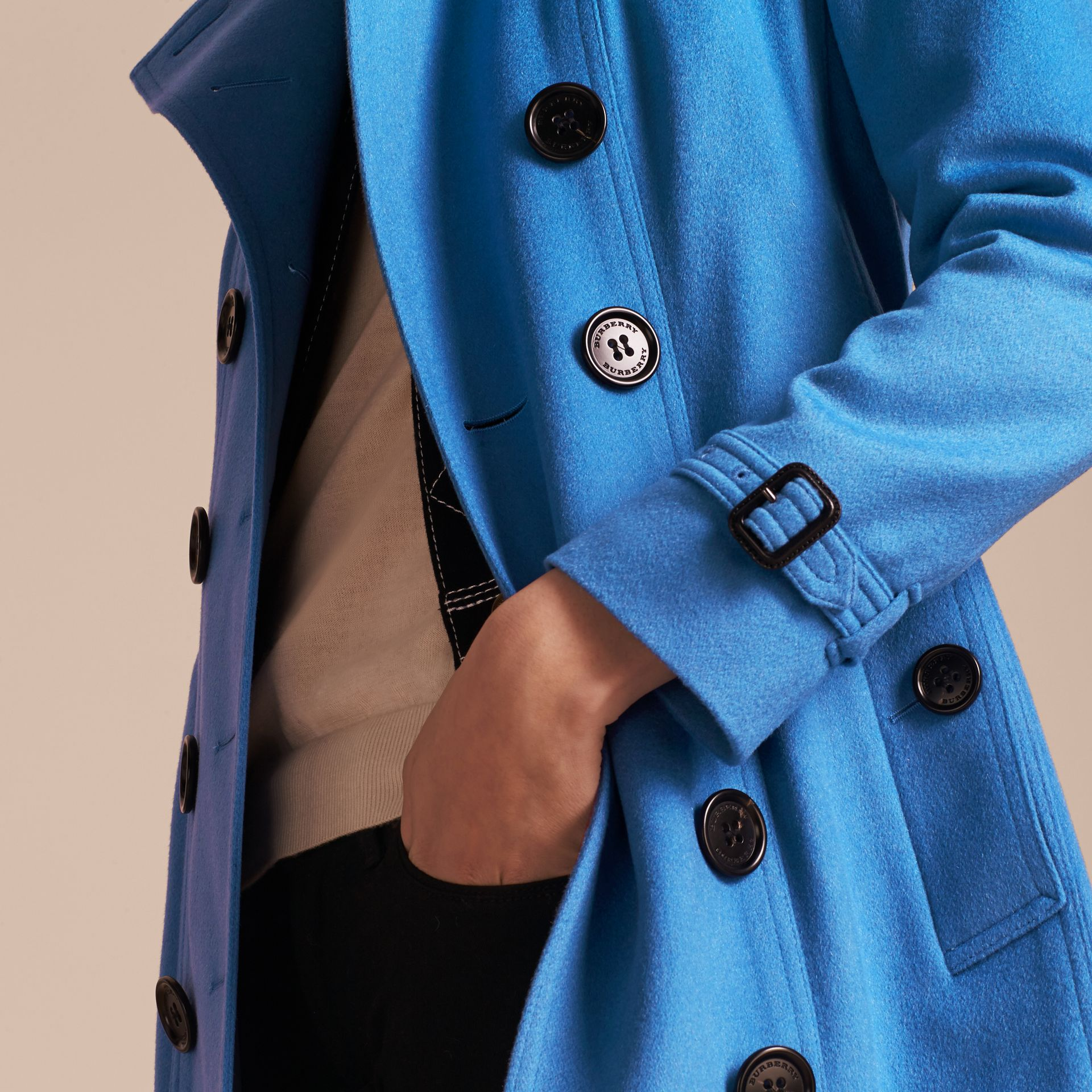 Cornflower Sandringham Fit Cashmere Trench Coat Cornflower - gallery image 5