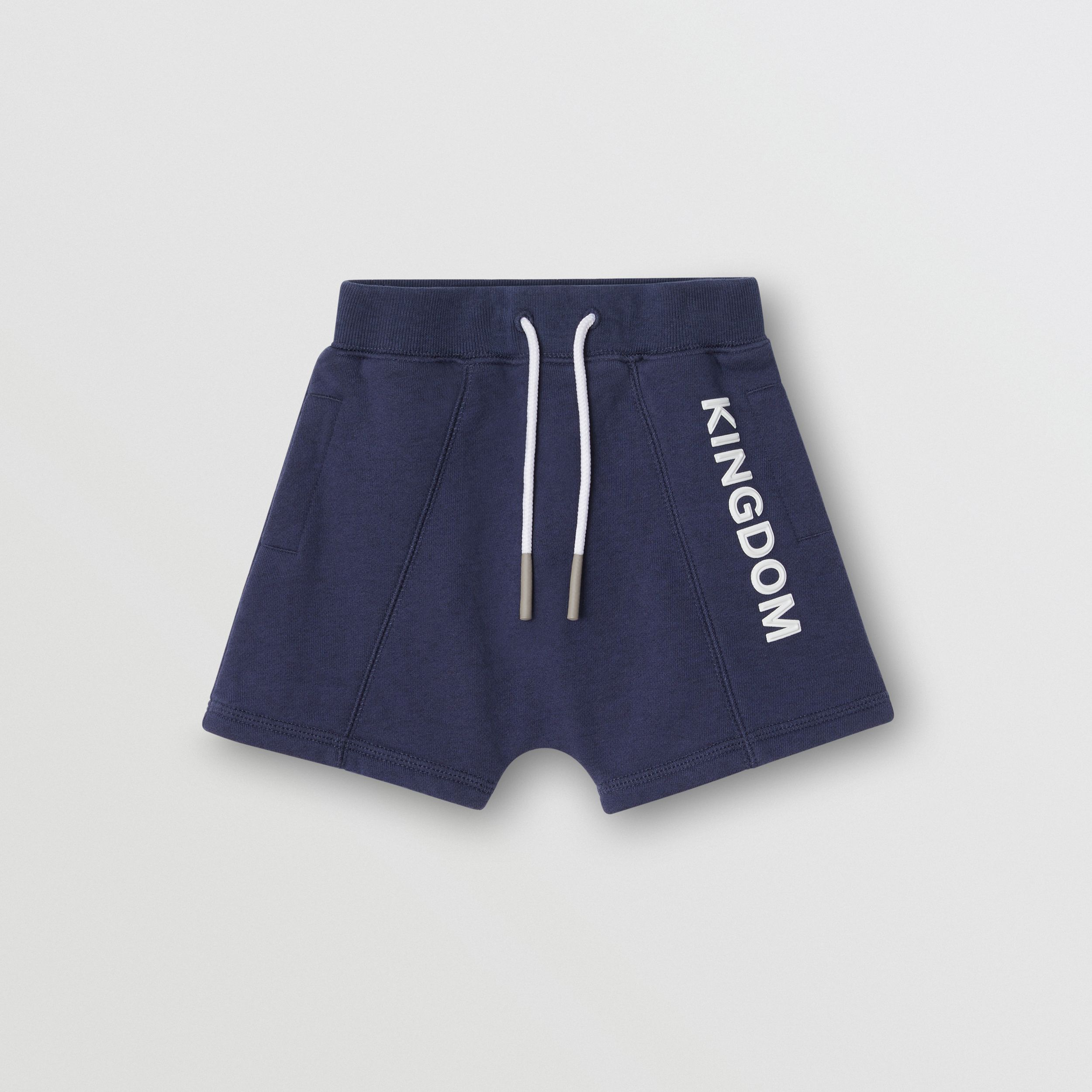 Kingdom Motif Cotton Drawcord Shorts in Slate Blue Melange | Burberry - 1