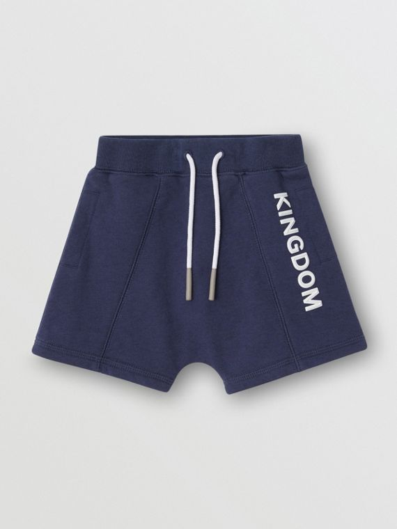 Kingdom Motif Cotton Drawcord Shorts in Slate Blue Melange