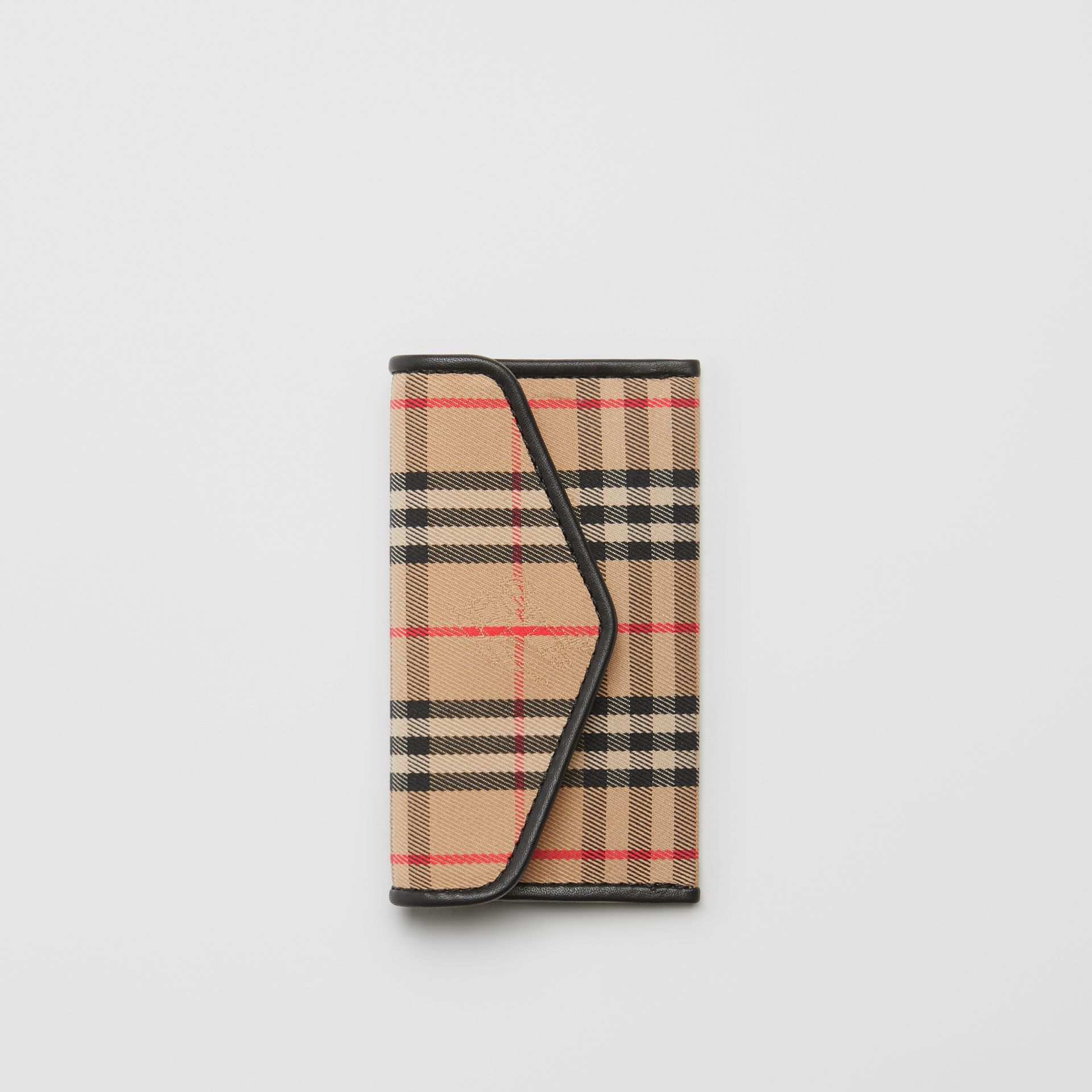 1983 Check and Leather Envelope Card Case in Black - Women | Burberry - gallery image 2