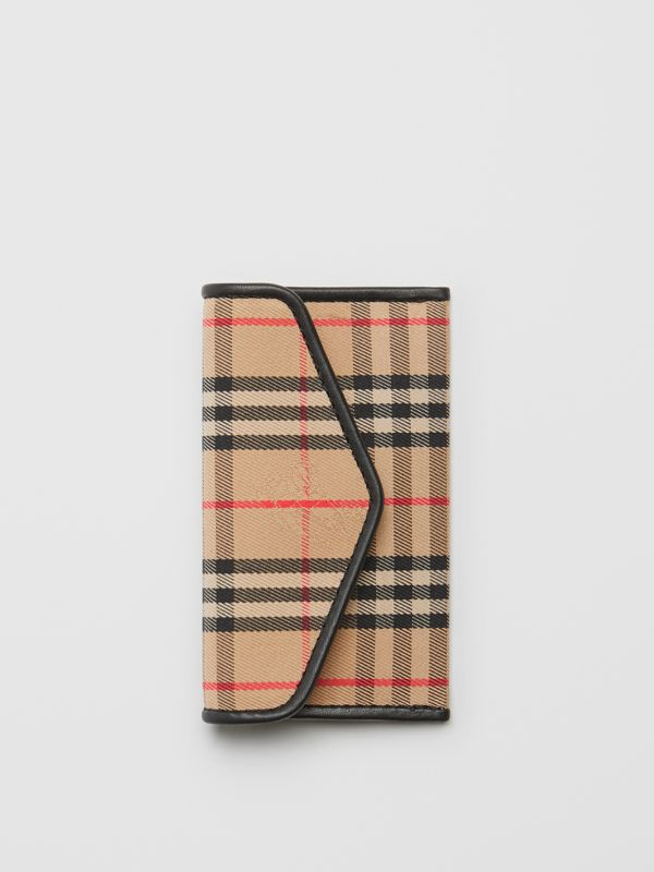 1983 Check and Leather Envelope Card Case in Black - Women | Burberry - cell image 2