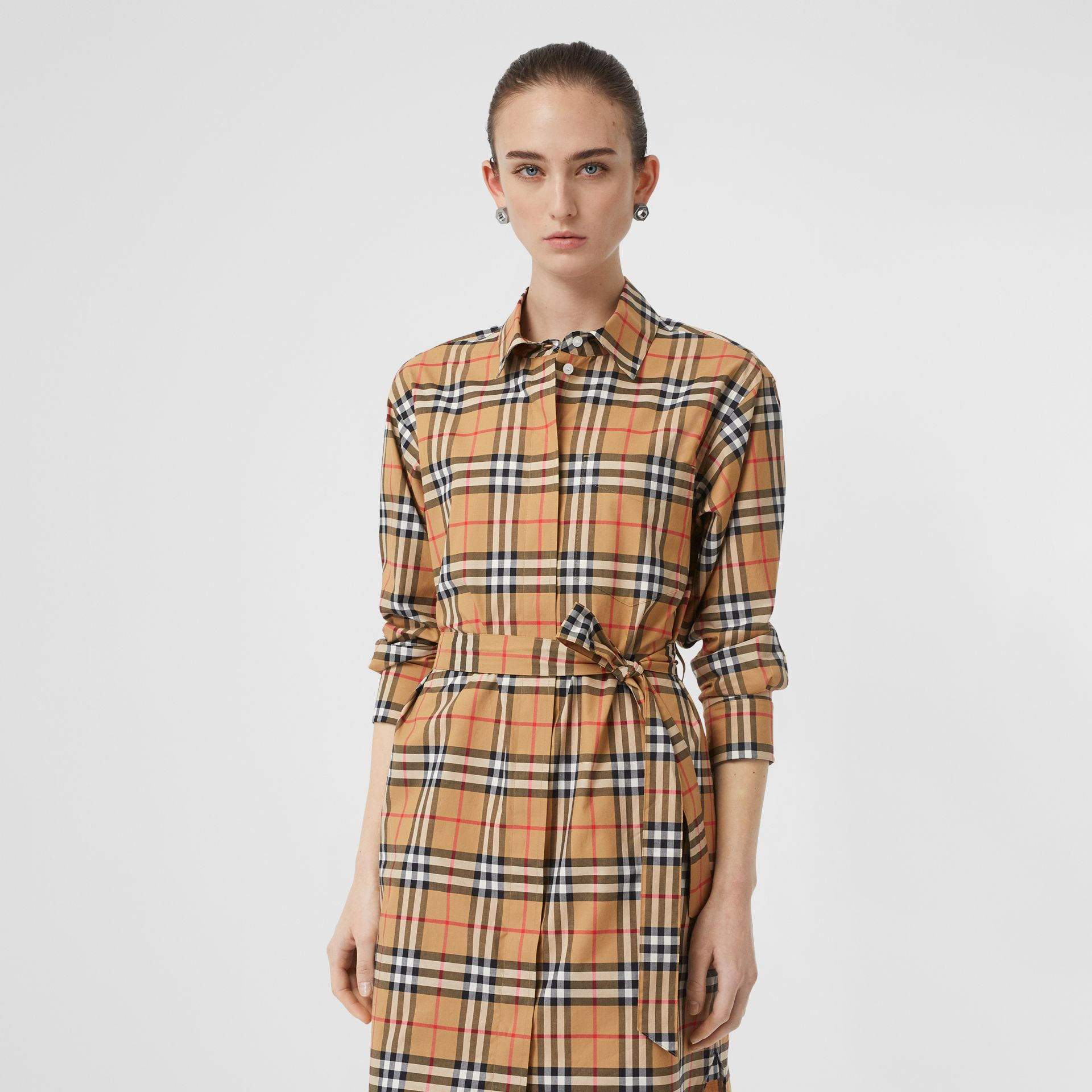 Vintage Check Cotton Tie-waist Shirt Dress in Antique Yellow - Women | Burberry - gallery image 5