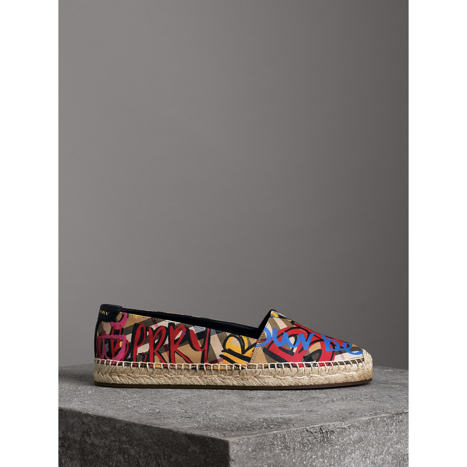 Graffiti Print Vintage Check Espadrilles in Antique Yellow - Women | Burberry Canada - gallery image 4