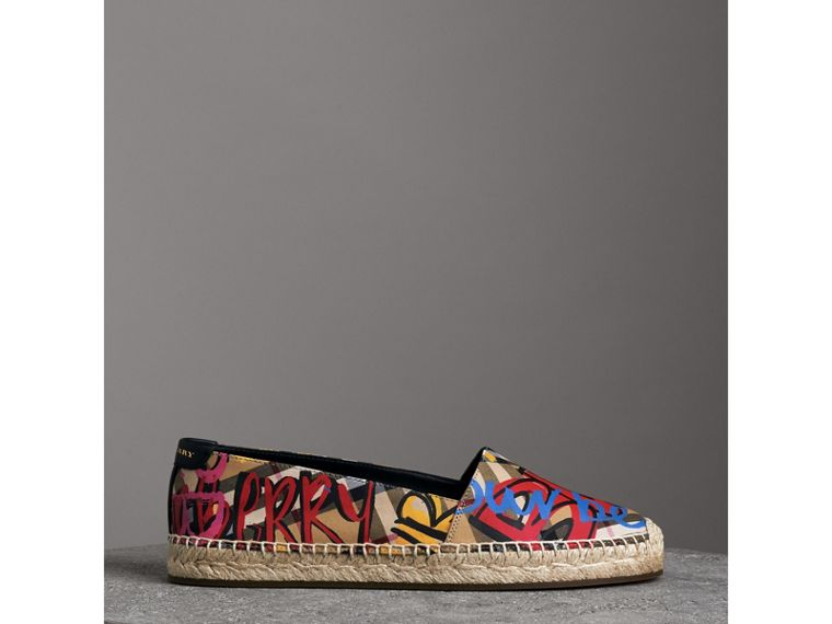Graffiti Print Vintage Check Espadrilles in Antique Yellow - Women | Burberry - cell image 4