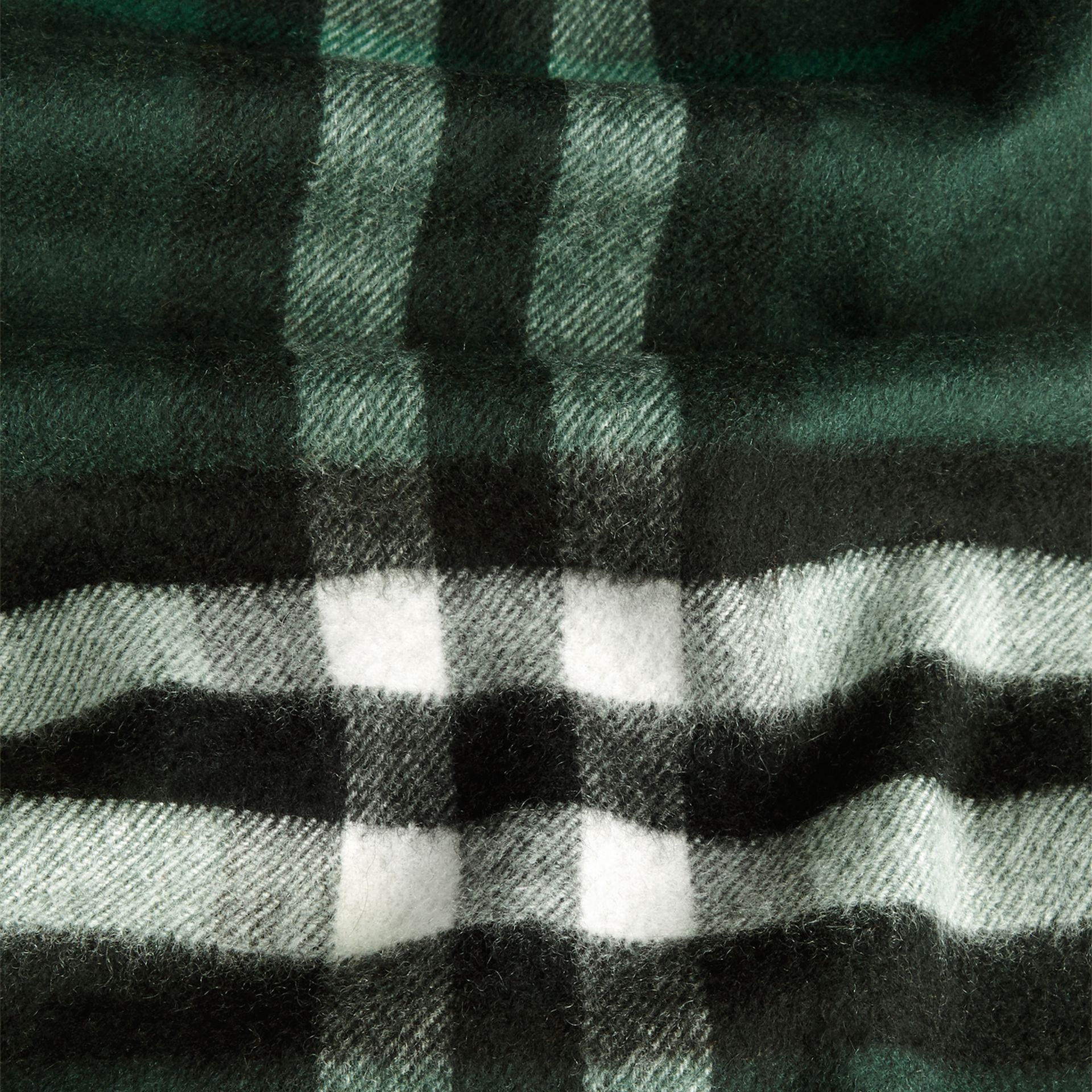 The Classic Cashmere Scarf in Check in Dark Forest Green - gallery image 5