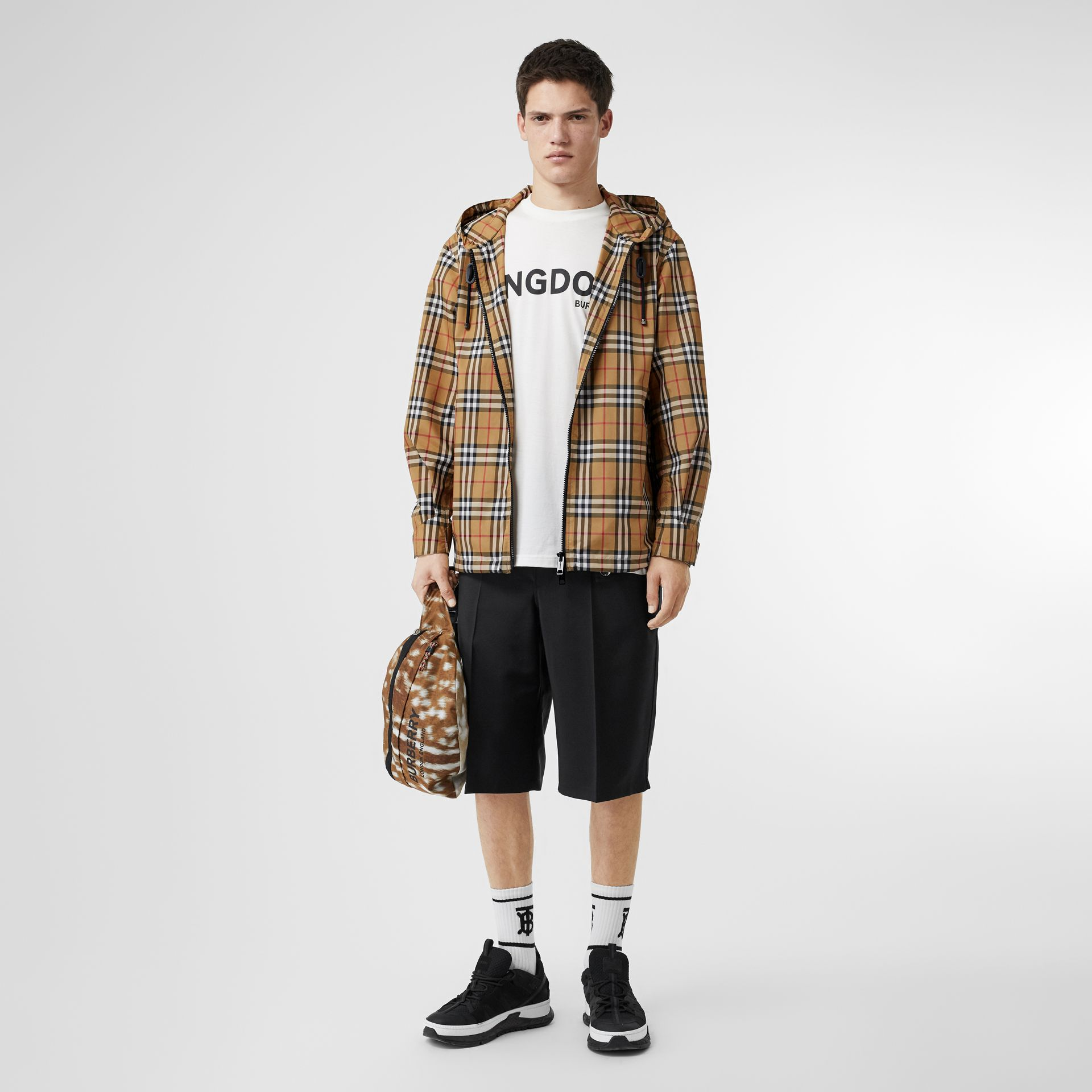 Vintage Check Lightweight Hooded Jacket in Antique Yellow - Men | Burberry Singapore - gallery image 0