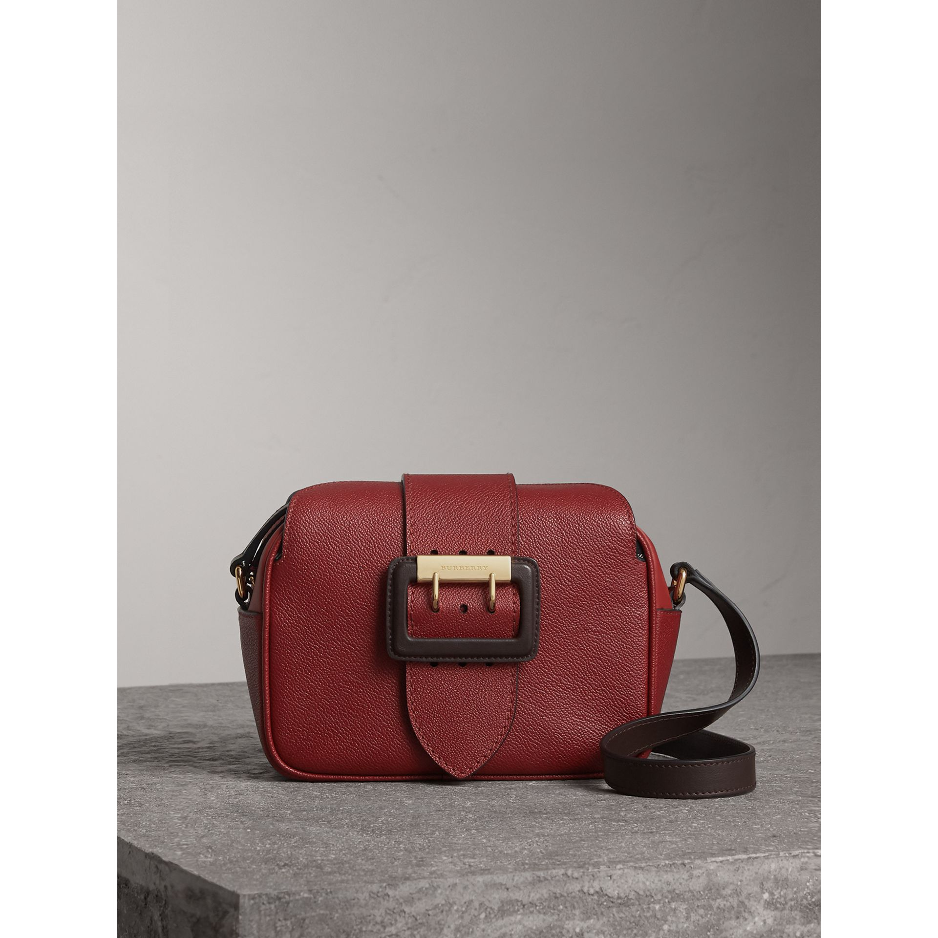 The Small Buckle Crossbody Bag in Two-tone Leather in Antique Red - Women | Burberry - gallery image 1