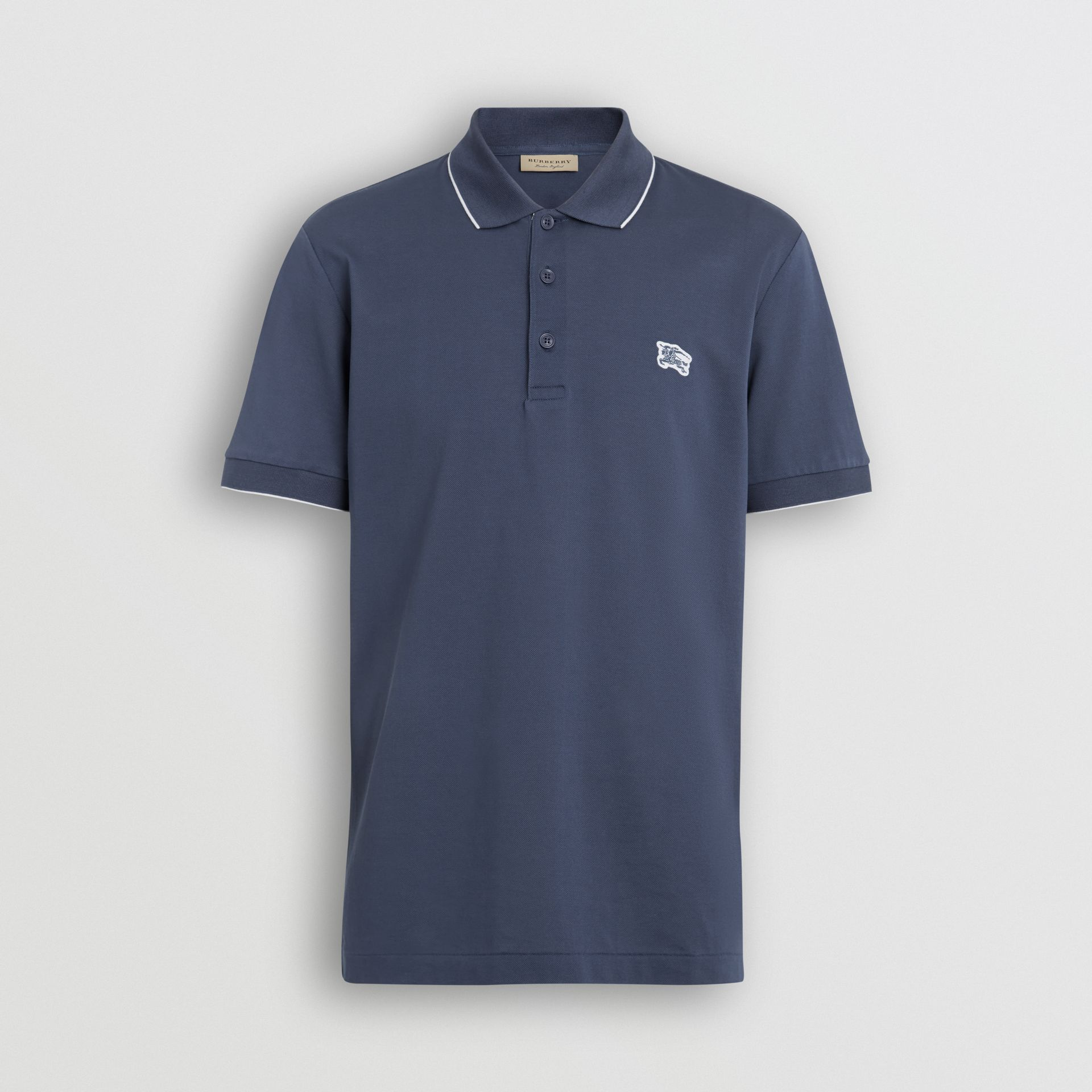 Tipped Cotton Piqué Polo Shirt in Steel Blue - Men | Burberry United Kingdom - gallery image 3