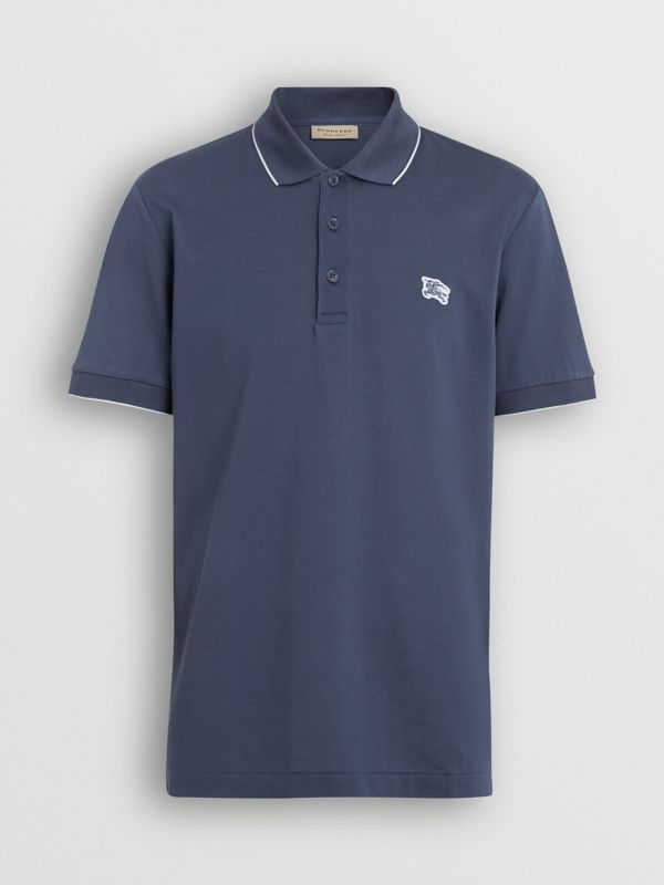 Tipped Cotton Piqué Polo Shirt in Steel Blue - Men | Burberry Canada - cell image 3