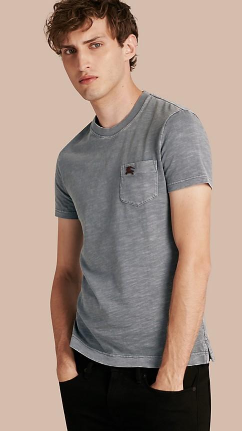 Steel blue Slub Jersey Double Dyed T-Shirt Steel Blue - Image 1