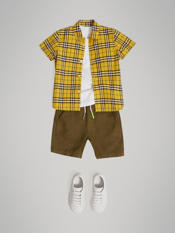 Short-sleeve Check Cotton Shirt in Bright Yellow - Boy | Burberry United Kingdom - cell image 2