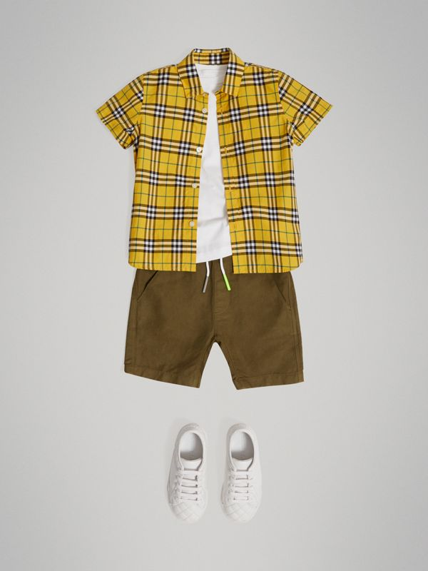 Short-sleeve Check Cotton Shirt in Bright Yellow - Boy | Burberry - cell image 2