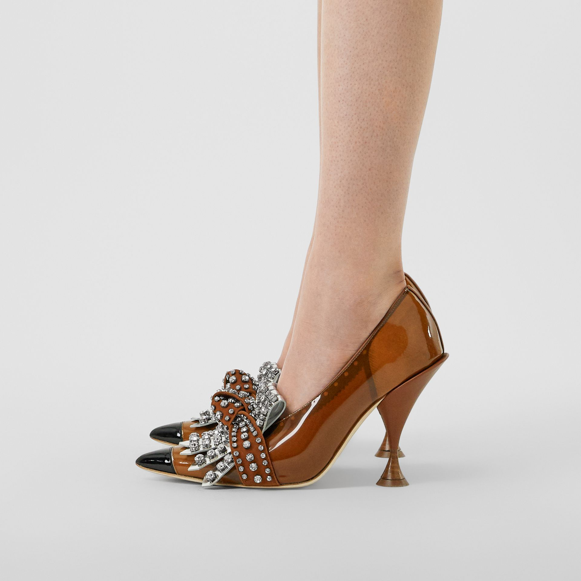 Crystal Kiltie Fringe Vinyl and Leather Point-toe Pumps in Malt Brown/black - Women | Burberry - gallery image 2
