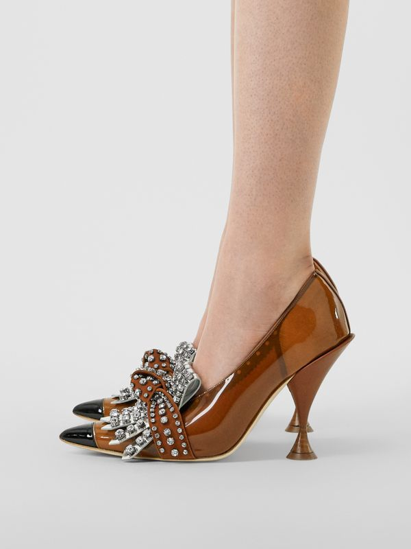Crystal Kiltie Fringe Vinyl and Leather Point-toe Pumps in Malt Brown/black - Women | Burberry - cell image 2