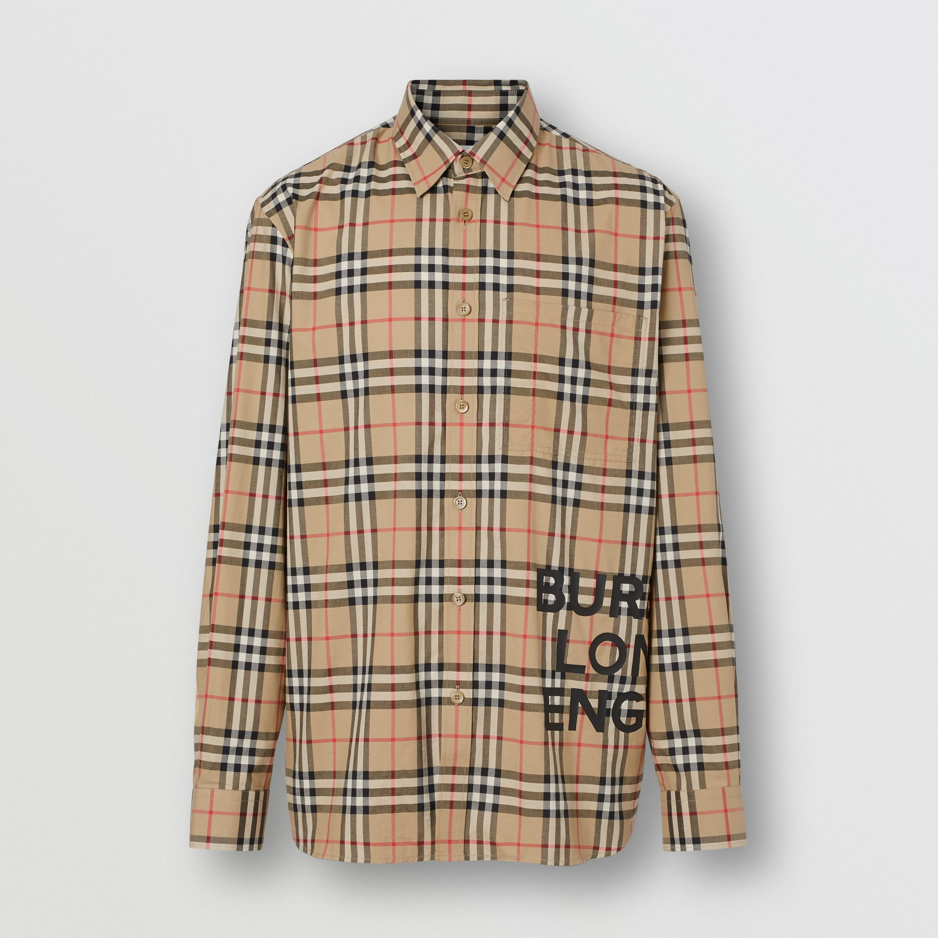 Logo Print Check Cotton Oversized Shirt in Archive Beige - Men | Burberry - gallery image 3