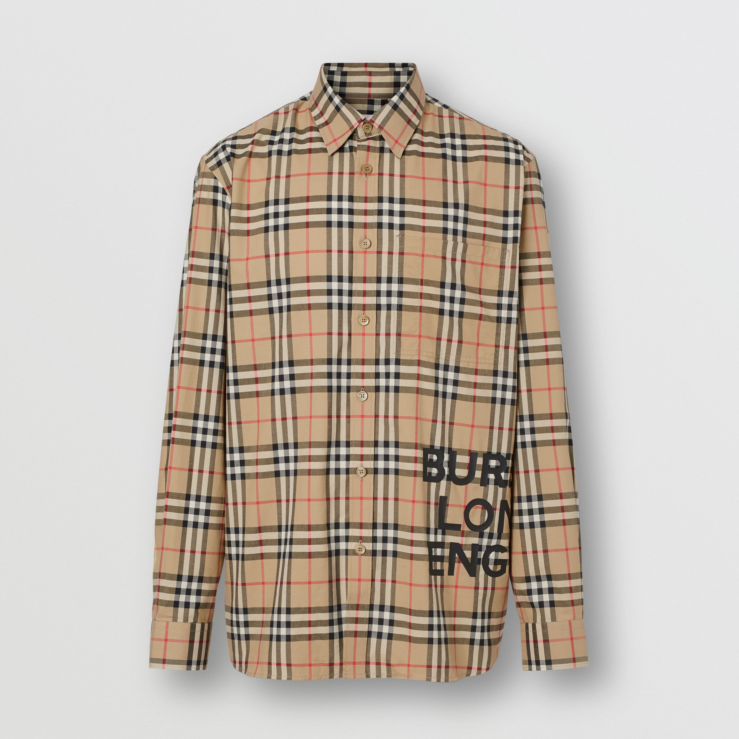 Logo Print Check Cotton Oversized Shirt in Archive Beige - Women | Burberry United States - 4