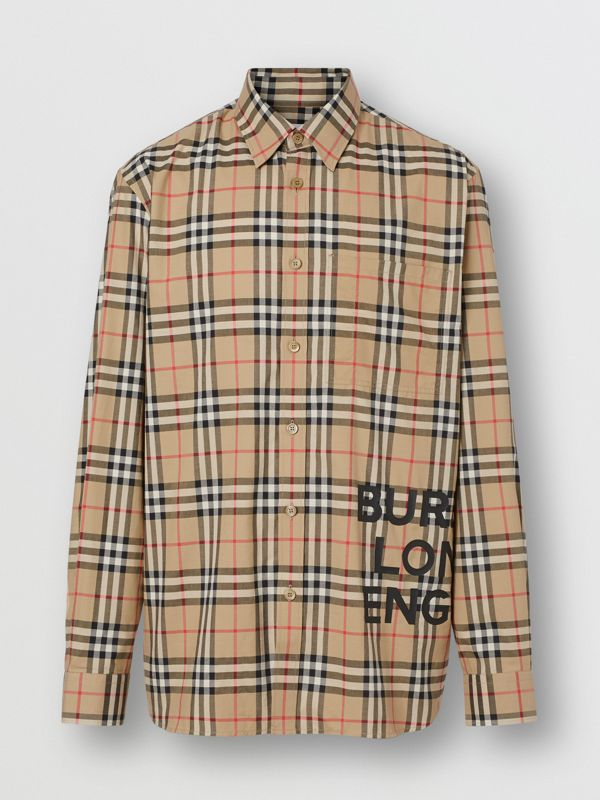 Logo Print Check Cotton Oversized Shirt in Archive Beige - Men | Burberry - cell image 3