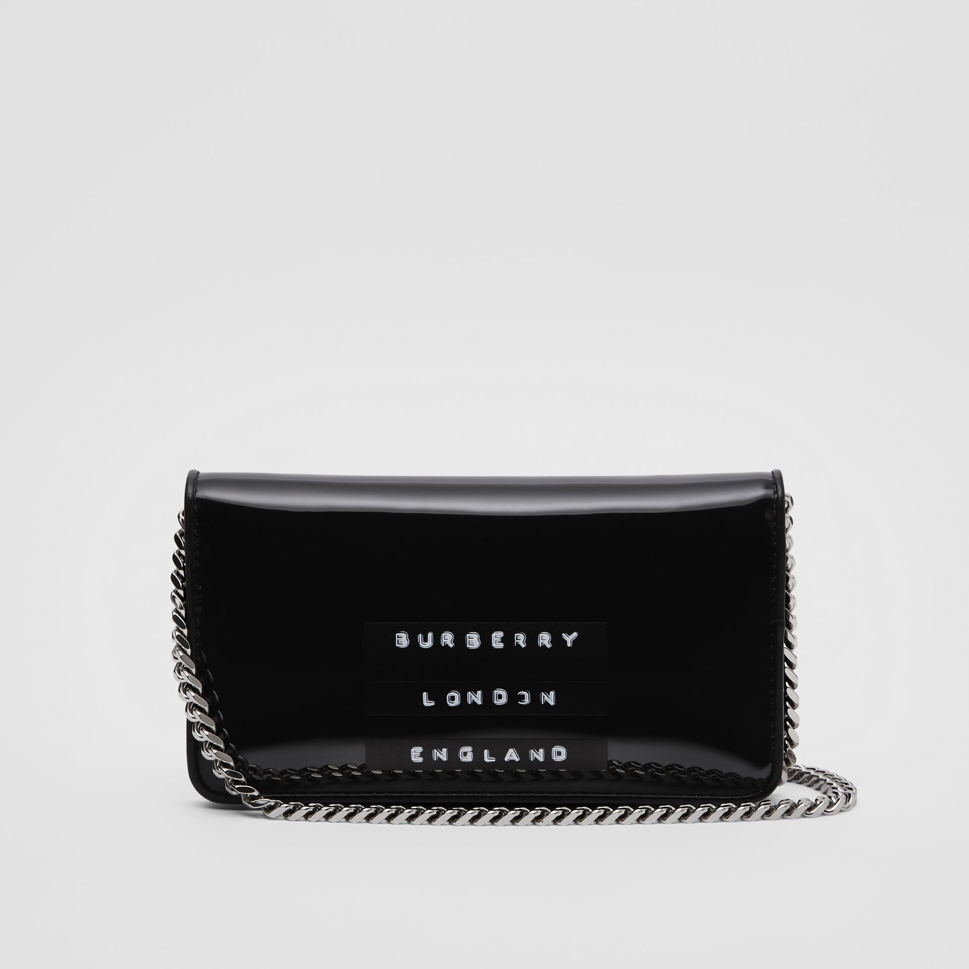 Tape Print Laminated Phone Wallet with Strap in Black - Women | Burberry - gallery image 5