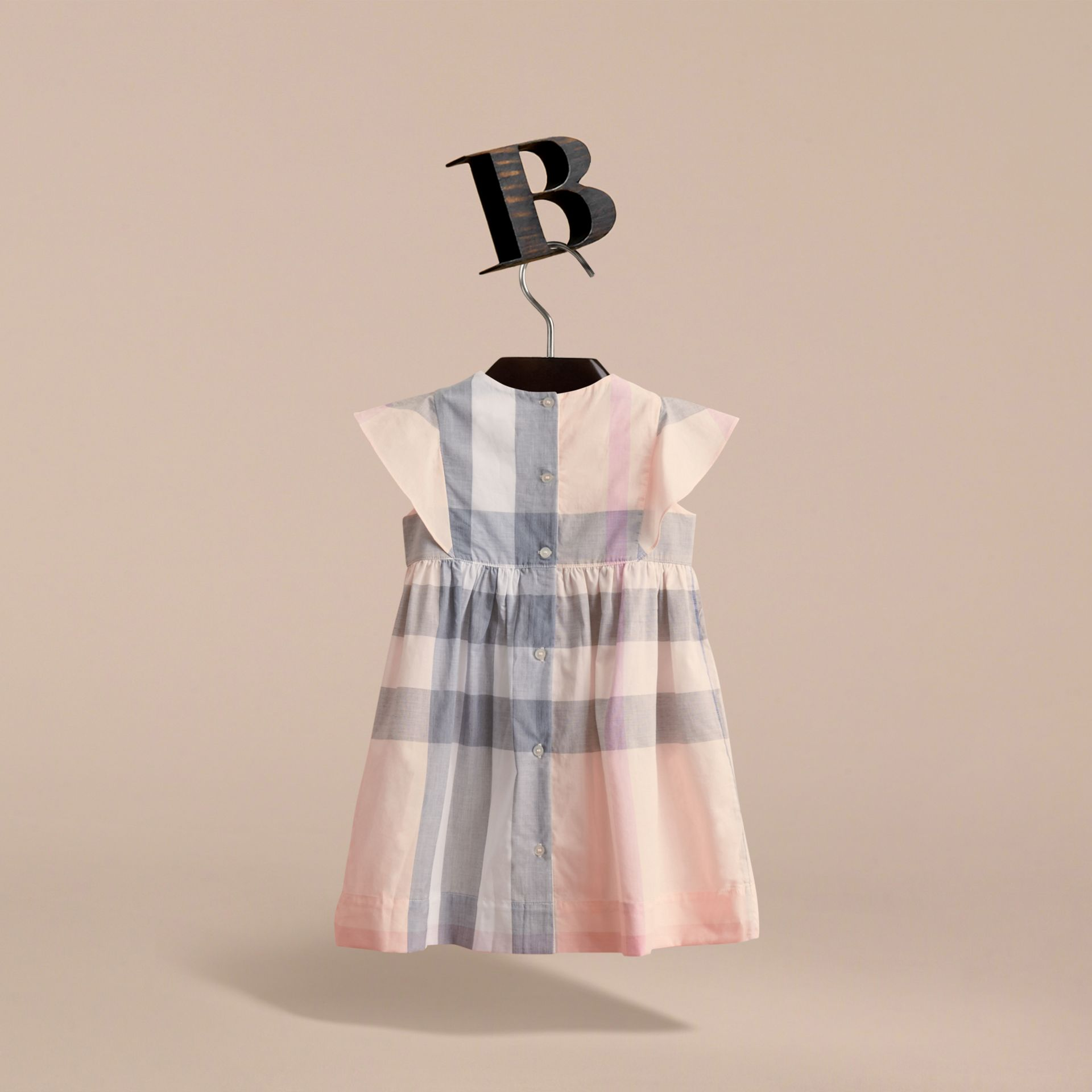 Ruffle Detail Check Cotton Dress in Apricot - Girl | Burberry - gallery image 4