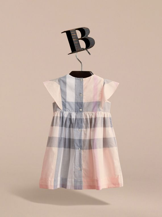 Ruffle Detail Check Cotton Dress in Apricot - Girl | Burberry - cell image 3