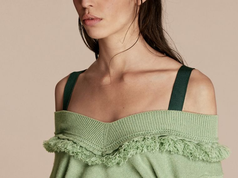 Fringed Off-the-shoulder Cashmere Sweater in Apple Green - cell image 4