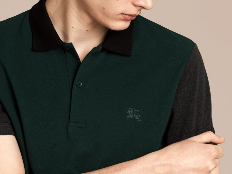 Racing green Colour-block Cotton Piqué Polo Shirt Racing Green - cell image 4