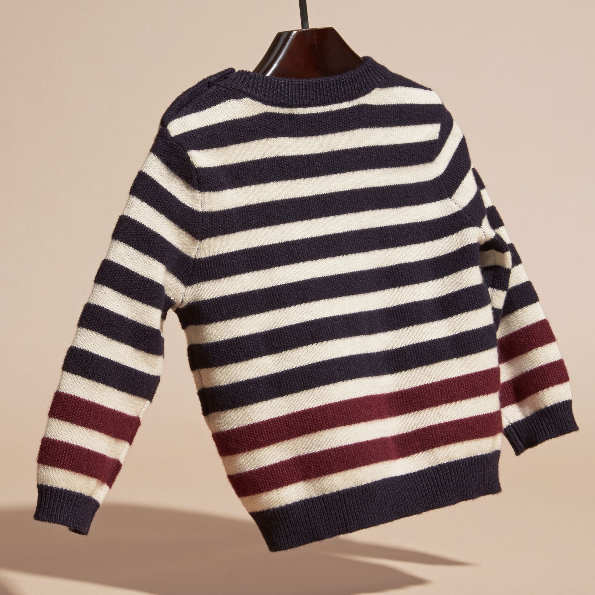 Navy Striped Cashmere Cotton Sweater - gallery image 4