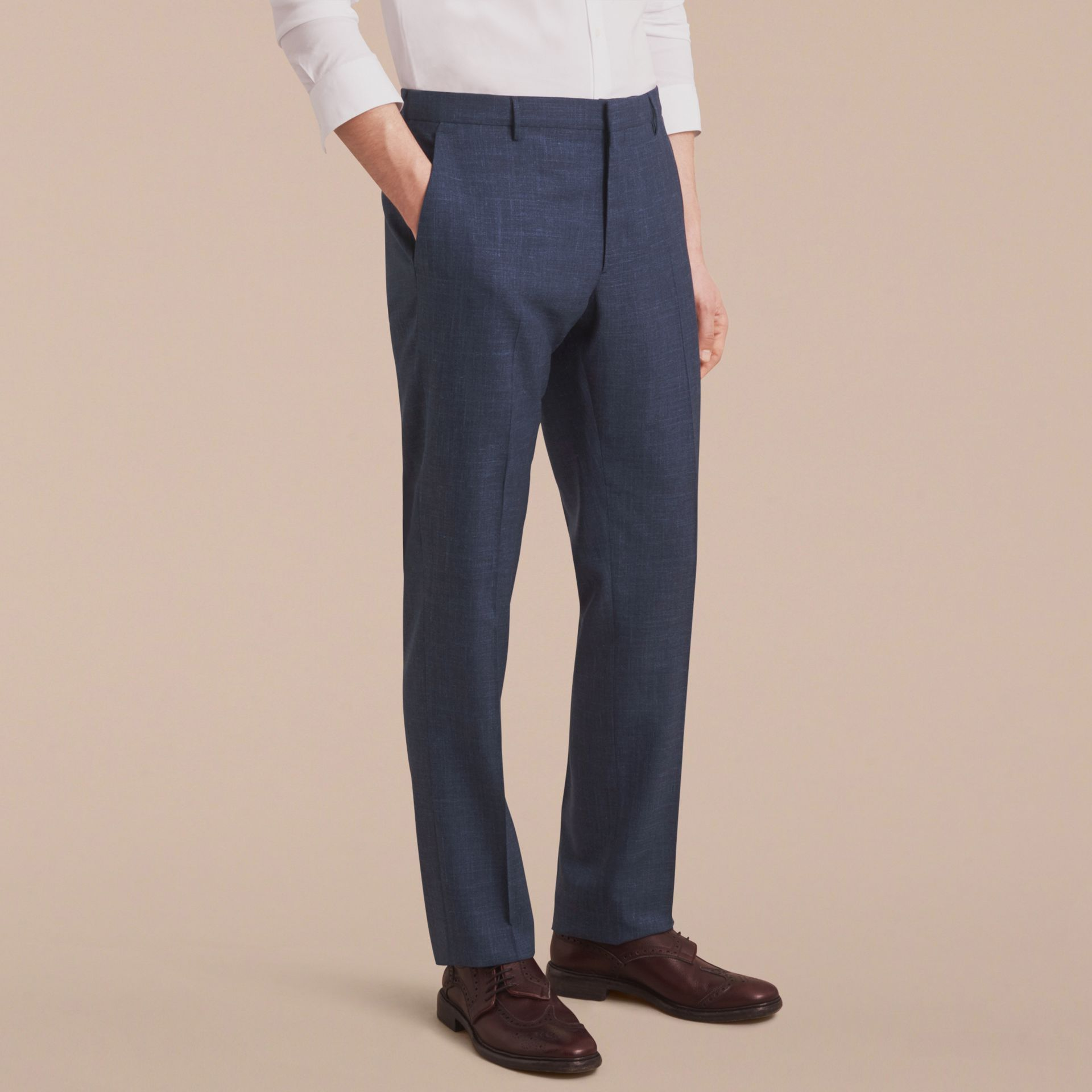 Modern Fit Wool Silk Blend Trousers - Men | Burberry - gallery image 6