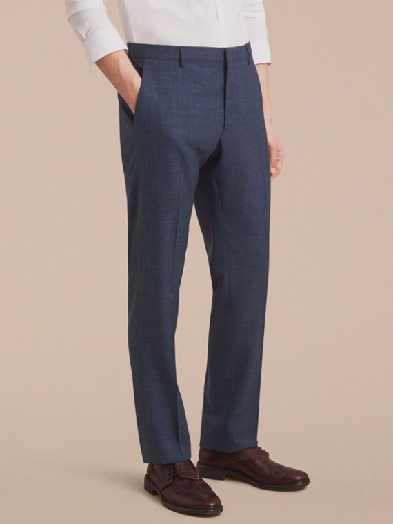 Modern Fit Wool Silk Blend Trousers