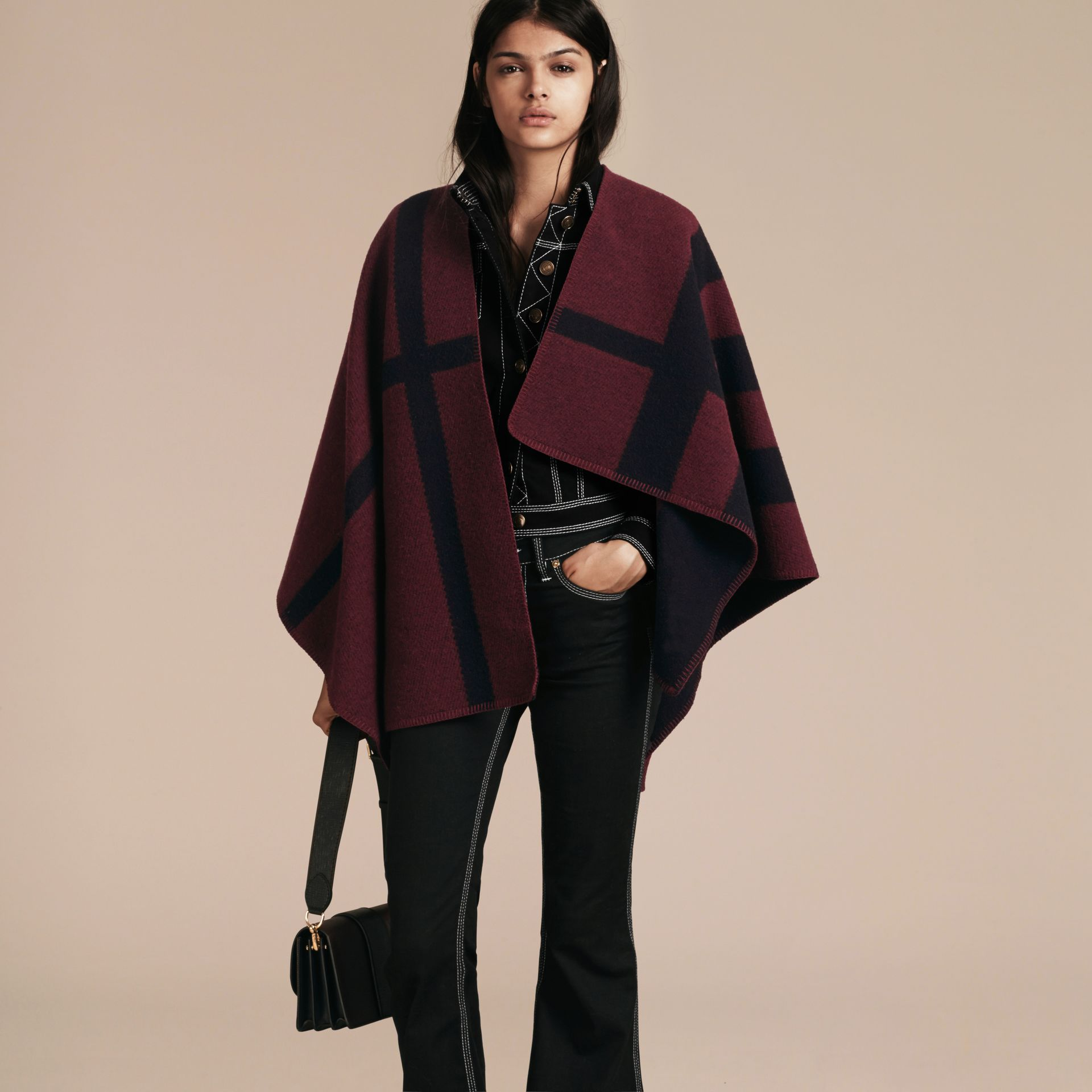 Oxblood Check Wool and Cashmere Blanket Poncho Oxblood - gallery image 6