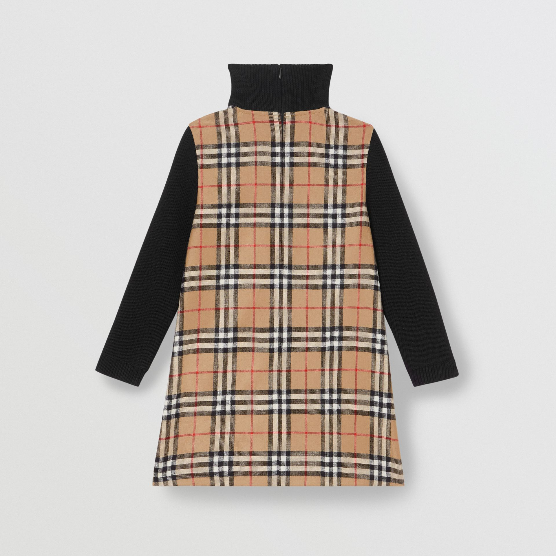 Vintage Check Wool Funnel Neck Dress in Archive Beige | Burberry - gallery image 3