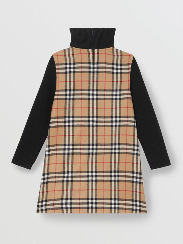 Vintage Check Wool Funnel Neck Dress in Archive Beige | Burberry - cell image 3