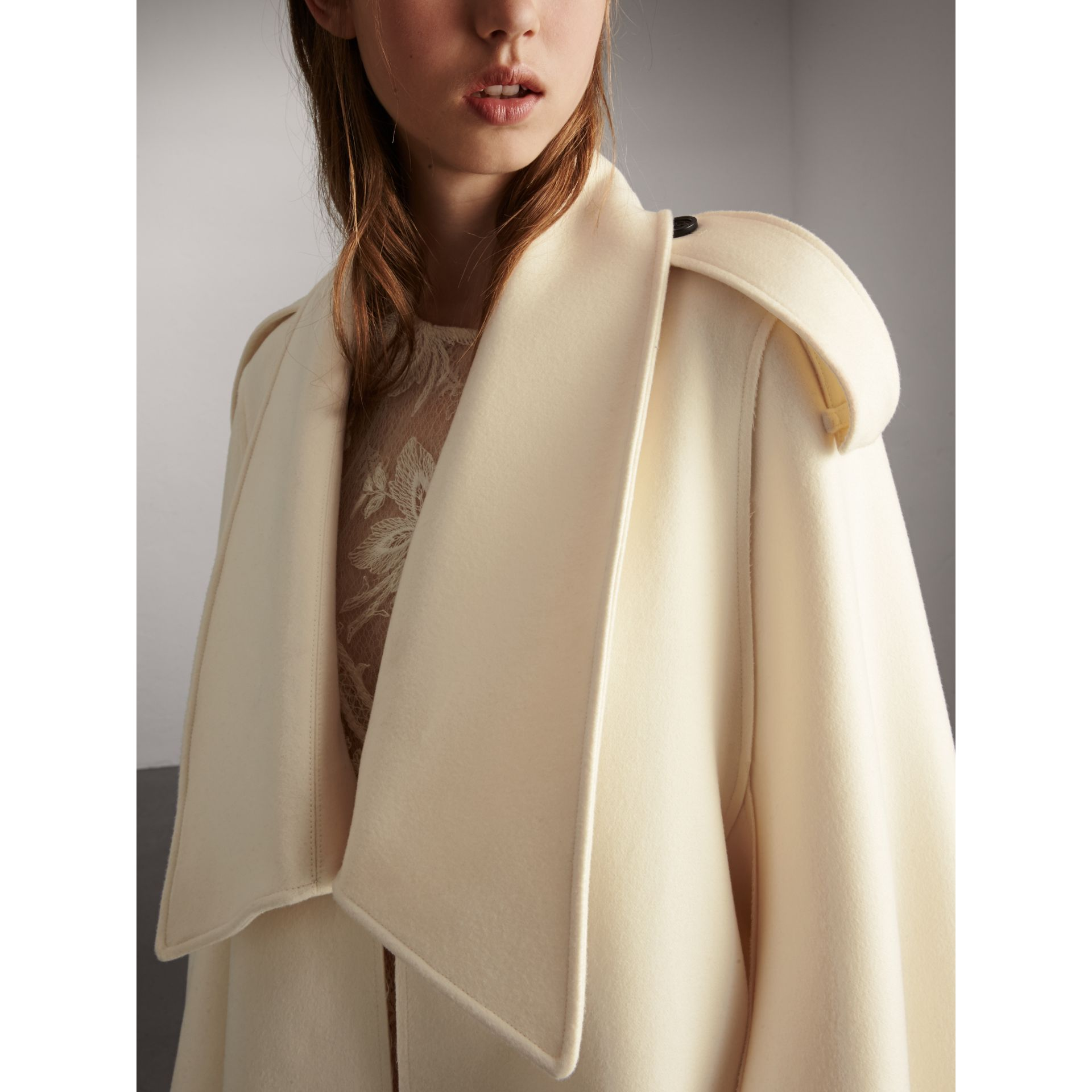 Tailored Wool Cashmere Cape in White - Women | Burberry - gallery image 4