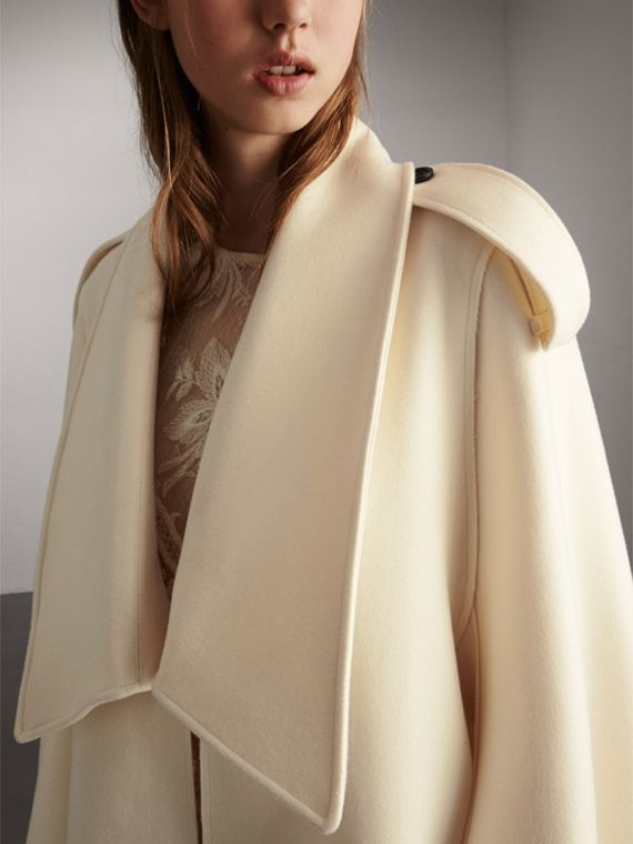 Tailored Wool Cashmere Cape in White - Women | Burberry - cell image 3